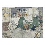 Danza de león por Kitagawa, Utamaro Tarjetas Postales