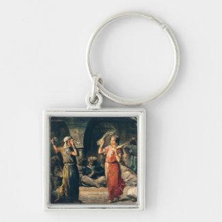 Danza de los pañuelos, 1849 llavero cuadrado plateado