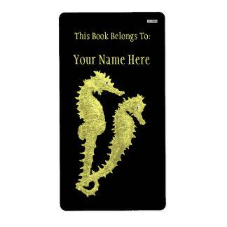 Danza de los Seahorses (amarillo) (Bookplate) Etiquetas De Envío