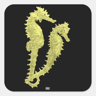 Danza de los Seahorses (amarillo) Colcomanias Cuadradases