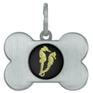 Danza de los Seahorses (amarillo) Placa De Nombre De Mascota