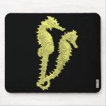 Danza de los Seahorses (amarillo) Alfombrillas De Ratón