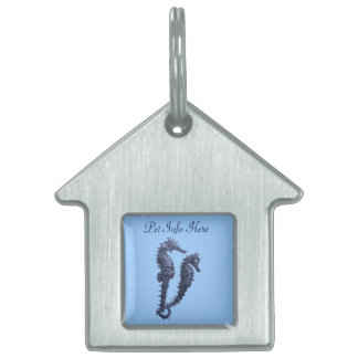 Danza de los Seahorses (azules) Placa De Mascota