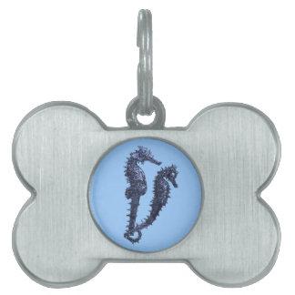 Danza de los Seahorses (azules) Placa De Nombre De Mascota
