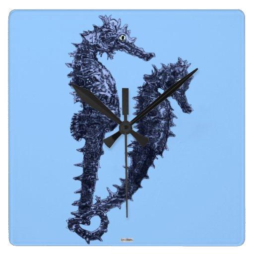 Danza de los Seahorses (azules) Relojes De Pared