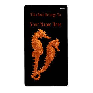 Danza de los Seahorses (naranja) (Bookplate) Etiqueta De Envío