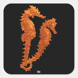 Danza de los Seahorses (naranja) Pegatina Cuadrada