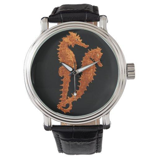Danza de los Seahorses (naranja) Relojes De Mano