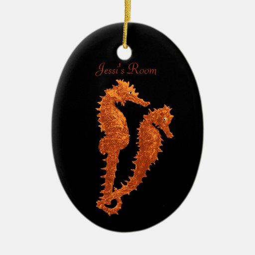 Danza de los Seahorses (naranja) (suspensión de Adorno Navideño Ovalado De Cerámica