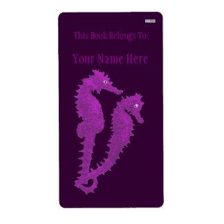Danza de los Seahorses (púrpuras) (Bookplate) Etiquetas De Envío