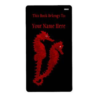 Danza de los Seahorses (rojos) (Bookplate) Etiquetas De Envío