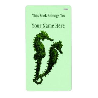 Danza de los Seahorses (verde) (Bookplate) Etiqueta De Envío
