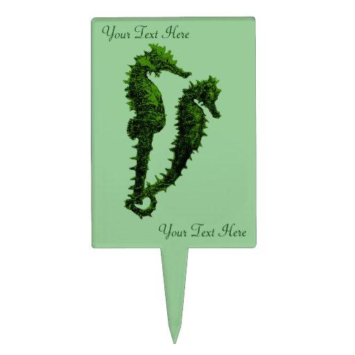 Danza de los Seahorses (verde) Figura De Tarta