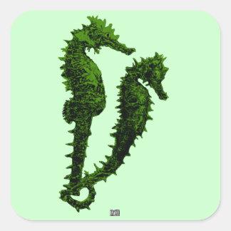 Danza de los Seahorses (verde) Pegatina Cuadradas Personalizadas
