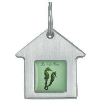 Danza de los Seahorses (verde) Placa De Nombre De Mascota