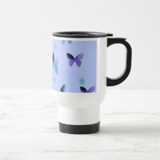 Danza de mariposas en verde azul taza de viaje