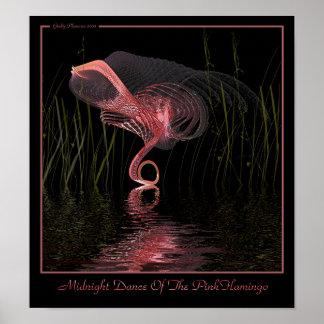 Danza de medianoche del flamenco rosado poster