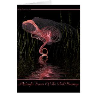 Danza de medianoche del flamenco rosado tarjeta de felicitación