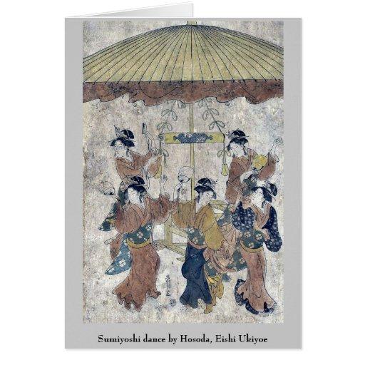 Danza de Sumiyoshi por Hosoda, Eishi Ukiyoe Tarjetas