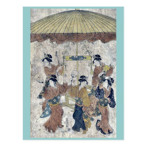 Danza de Sumiyoshi por Hosoda, Eishi Ukiyoe Tarjetas Postales