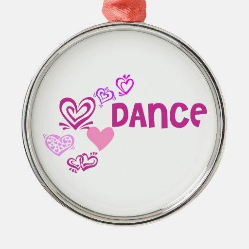 Danza del amor adorno redondo plateado