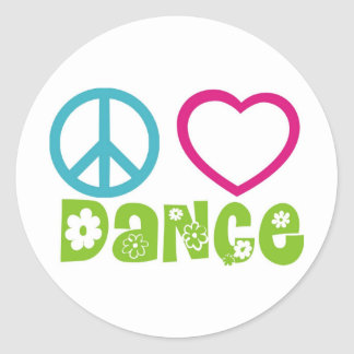 Danza del amor de la paz etiqueta redonda