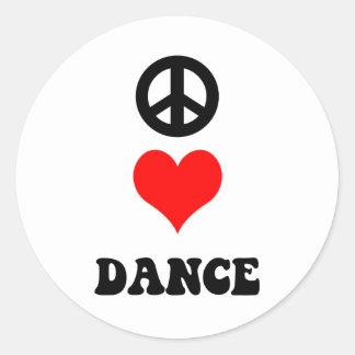 Danza del amor de la paz pegatina redonda