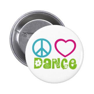 Danza del amor de la paz pin redondo de 2 pulgadas