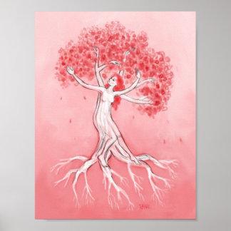 Danza del árbol de la flor de cerezo posters