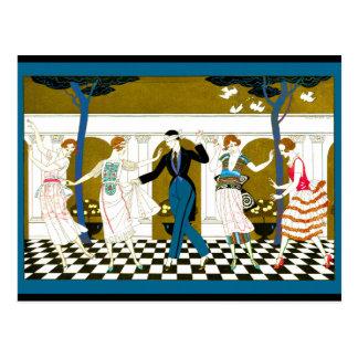 Danza del art déco tarjeta postal