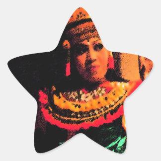 Danza del Balinese Pegatina En Forma De Estrella