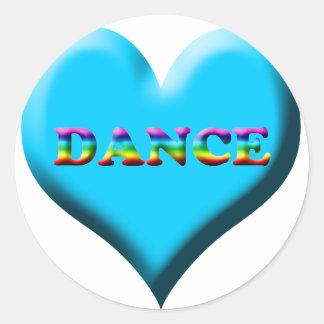 Danza del ballet inmóvil y imanes etiqueta redonda