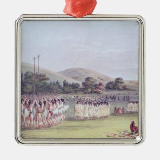 Danza del Bola-Juego del Choctaw, 1834-35 Adorno Navideño Cuadrado De Metal