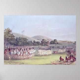 Danza del Bola-Juego del Choctaw, 1834-35 Impresiones