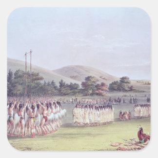 Danza del Bola-Juego del Choctaw, 1834-35 Pegatina Cuadrada