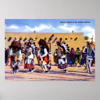 Danza del búfalo de los indios del pueblo impresiones