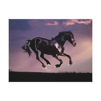Danza del caballo en la puesta del sol impresiones en lienzo estiradas
