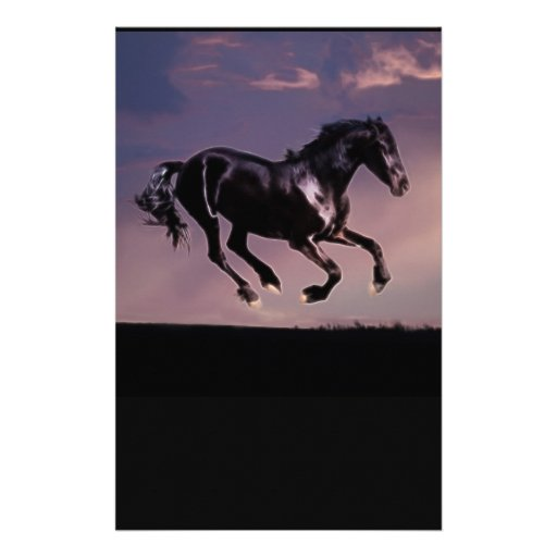 Danza del caballo en la puesta del sol personalized stationery