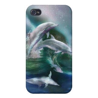 Danza del caso del arte de los delfínes para el iP iPhone 4/4S Fundas