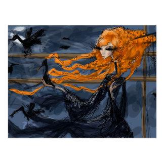 Danza del cuervo: Arte surrealista gótico oscuro Tarjeta Postal