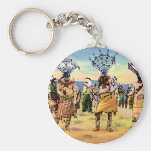 Danza del diablo de los indios de Arizona Apache Llavero Redondo Tipo Pin