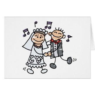 Danza del dibujo animado del boda tarjeta de felicitación