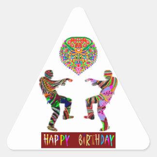 Danza del feliz cumpleaños pegatina triangular