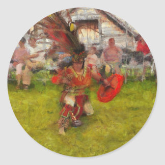 Danza del fuego, arte del nativo americano pegatina redonda