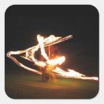 Danza del fuego de Hawaii Pegatina Cuadrada