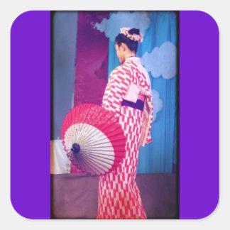 Danza del geisha pegatina cuadrada