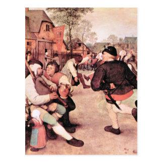 Danza del granero de Pieter Bruegel Postal