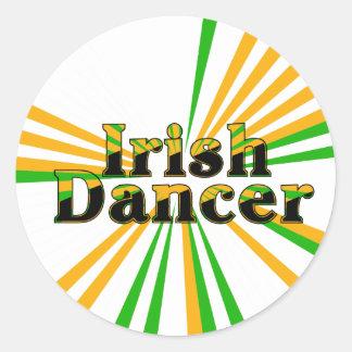 Danza del irlandés etiqueta redonda