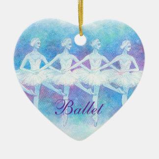 Danza del ornamento de los cisnes del bebé adorno de cerámica en forma de corazón