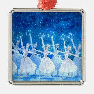 Danza del ornamento del premio de los copos de adorno cuadrado plateado